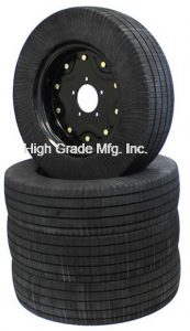 solid rubber tires designed to replace foam-filled aircraft tires.