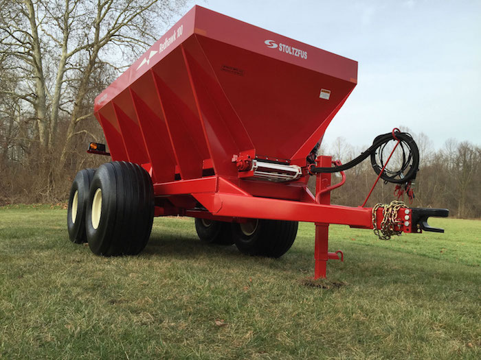 A heavy-duty fully welded walking beam, with spindle gussets and torsional support, ensures that the new Stoltzfus CU-100 Ground-Driven Wet Lime Spreader easily handles 10-ton turning loads on any terrain.